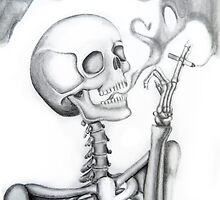 "smoking skeleton ""Addiction"" --graphite by emiflare"