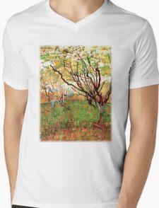 Orchard in Blossom, Vincent van Gogh.   Mens V-Neck T-Shirt