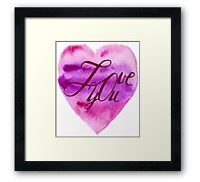 Love you. Heart, watercolor, elements for your valentines.  Framed Print