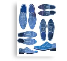 Blue Brogue Shoes Canvas Print