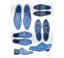 Blue Brogue Shoes Poster