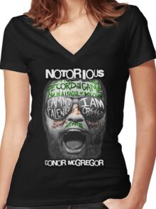 Conor McGregor Face Women's Fitted V-Neck T-Shirt