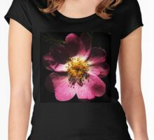 Bright Pink Macro Detailed Flower Women's Fitted Scoop T-Shirt