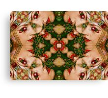 Red Lips Mandala Canvas Print