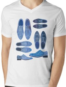 Blue Brogue Shoes Mens V-Neck T-Shirt