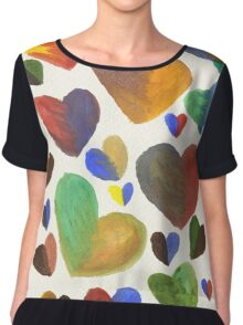 Hand-Painted Hearts in Colorful Chocolate Brown Chiffon Top