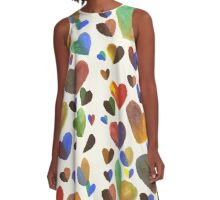 Hand-Painted Hearts in Colorful Chocolate Brown A-Line Dress