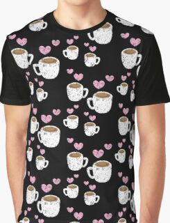Four coffee cups with love hearts (distressed version) Graphic T-Shirt