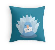 Blue peacock with an envelope  Throw Pillow