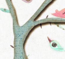 Retro Grungy Birds in a Mixed Media Rustic Tree Sticker