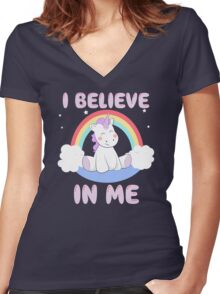 Cute Unicorn I Believe In Me T Shirt Women's Fitted V-Neck T-Shirt