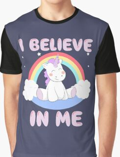 Cute Unicorn I Believe In Me T Shirt Graphic T-Shirt