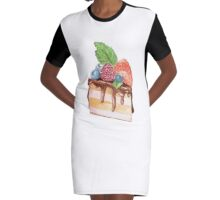 Yummy cake with berries, yummy food, sweet Graphic T-Shirt Dress