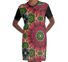 Flower Mandala, Red blossoms with hearts Graphic T-Shirt Dress