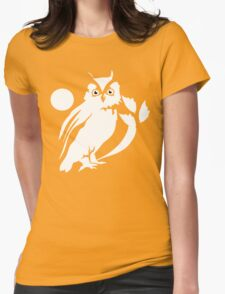 White OWL Womens Fitted T-Shirt