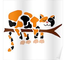 Cool Funky Funny Calico Cat in Tree Poster