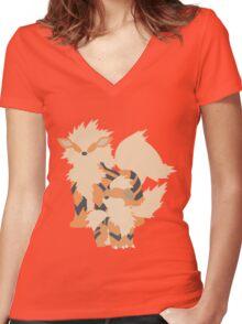 Growlithe Evolution Women's Fitted V-Neck T-Shirt