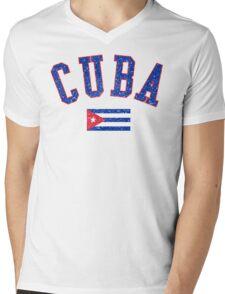 Cuba Flag Vintage Mens V-Neck T-Shirt