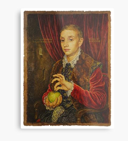 Boy With Apple Metal Print