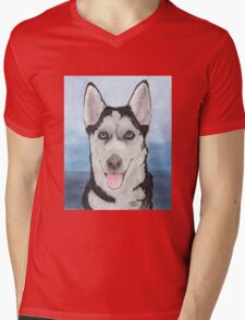 Siberian Husky Dog Portrait Cathy Peek Animal Art Mens V-Neck T-Shirt