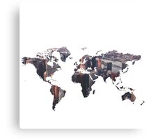 World Map - City Canvas Print