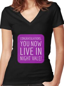 Congratulations, you now live in Night Vale! Women's Fitted V-Neck T-Shirt