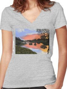 Rest Here Women's Fitted V-Neck T-Shirt