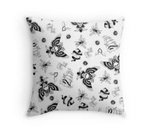 Old School Tattoo Ink Illustration Pattern Throw Pillow