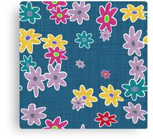 floral pattern with roses and bells, Canvas Print
