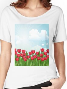 Pretty Red Tulips and Sky Women's Relaxed Fit T-Shirt