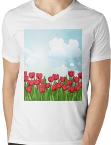Pretty Red Tulips and Sky Mens V-Neck T-Shirt