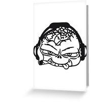 gesicht kopf cool kopfhörer joint rauchen kiffen weed cannabis drogen stoned kiffer musik party kleiner böser süßer kind zombie  Greeting Card