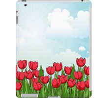 Pretty Red Tulips and Sky iPad Case/Skin