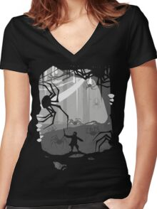 The Little Limbbit and the Spiders Women's Fitted V-Neck T-Shirt