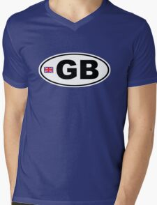 GB - GREAT BRITAIN - BUMPER STICKER Mens V-Neck T-Shirt