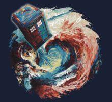 Time travel Phone box at Starry Dark Vortex One Piece - Short Sleeve
