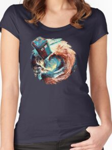 Time travel Phone box at Starry Dark Vortex Women's Fitted Scoop T-Shirt