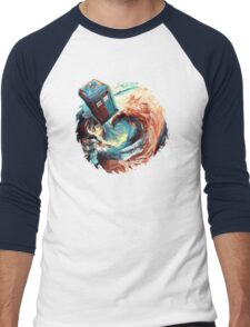 Time travel Phone box at Starry Dark Vortex Men's Baseball ¾ T-Shirt