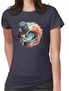 Time travel Phone box at Starry Dark Vortex Womens Fitted T-Shirt