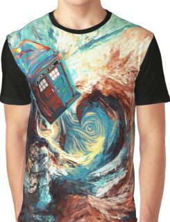 Time travel Phone box at Starry Dark Vortex Graphic T-Shirt