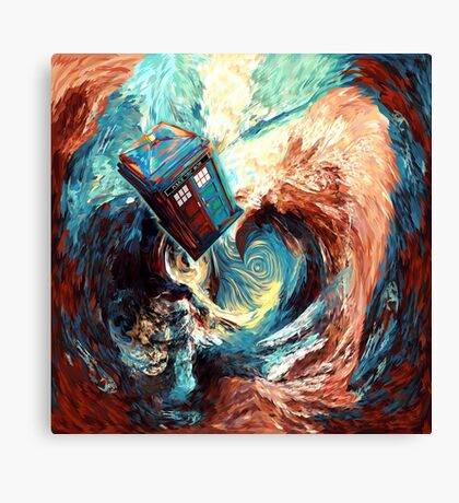 Time travel Phone box at Starry Dark Vortex Canvas Print