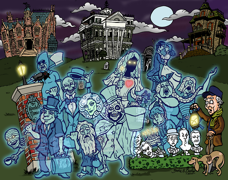 Grim Grinning Ghosts by clockworkmonkey
