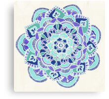 Royal Blue, Teal, Mint & Purple Mandala Flower Canvas Print