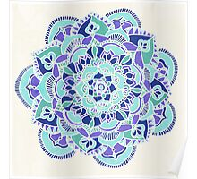 Royal Blue, Teal, Mint & Purple Mandala Flower Poster