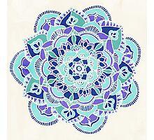 Royal Blue, Teal, Mint & Purple Mandala Flower Photographic Print