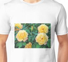 Yellow With Pink Tip Roses Unisex T-Shirt