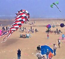 Cool Kites On The Beach! by Thom Zehrfeld