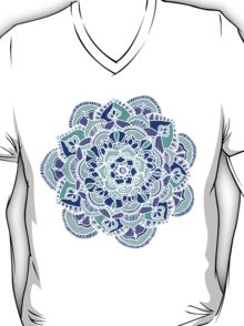 Royal Blue, Teal, Mint & Purple Mandala Flower T-Shirt