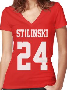 Stilinski Jersey White Letters Women's Fitted V-Neck T-Shirt
