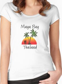 Maya Bay Thailand Women's Fitted Scoop T-Shirt